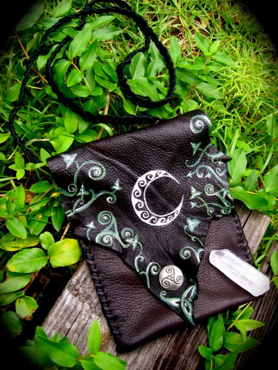 RESERVED- Crescent Moon and Celtic Ivy Leather Bag