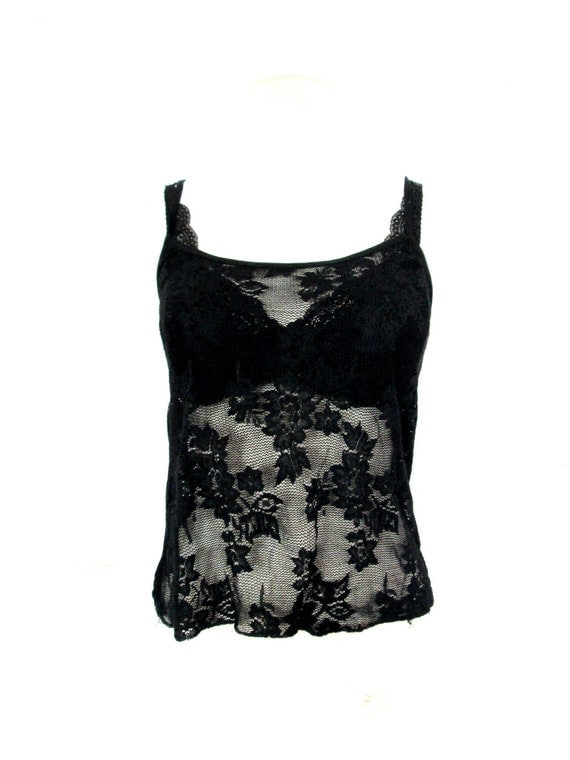 90's Sheer lace cropped tank size - S/M
