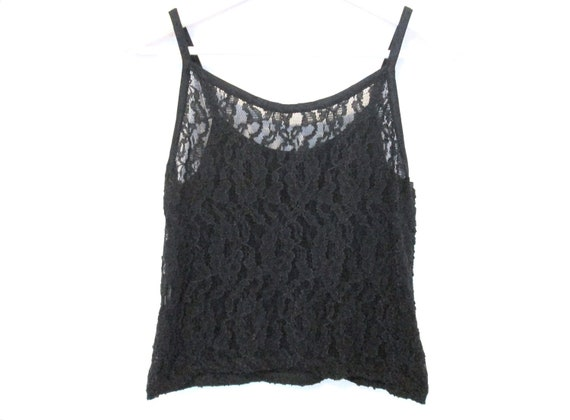 90's Cropped Sheer lace tank size - M/L