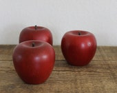 vintage wooden apples rustic farmhouse decor red primitive fall natural wood autumn harvest apple set of three ( 3 )