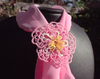 Tatted Wild Rose scarf ring pink and white