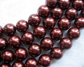 12mm Coffee South Sea Shell Pearl Beads - 16 Inch Strand