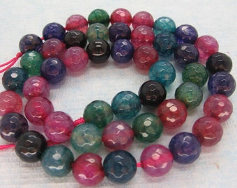 Combination of Red Green Purple Black Agate Faceted Round Beads 8mm - 15 Inch Strand