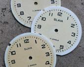 Vintage Soviet Alarm Clock Faces from 1980's -- plastic -- D15