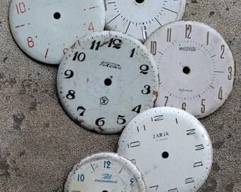 Vintage Wrist Watch Faces -- set of 6 -- D1