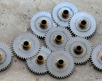 Vintage clock gears  -- black -- set of 10 -- D15