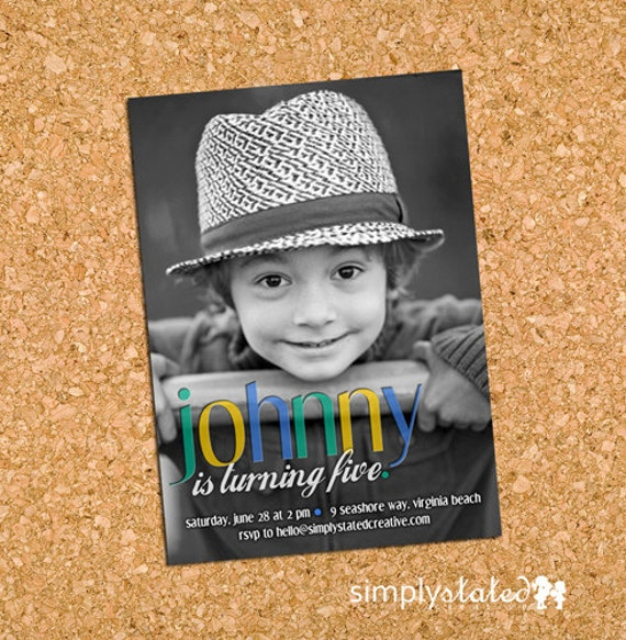 Simply Sleek Bevel Boy | custom kids photo birthday party invitation, picture card invite - Printable Digital File, Print Service Available