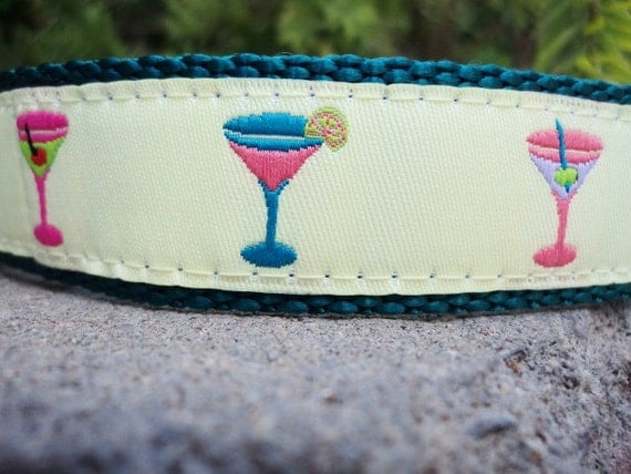"""Sale Dog Collar Bahama Cocktails 1"""" wide Quick Release collar - choose the webbing color"""