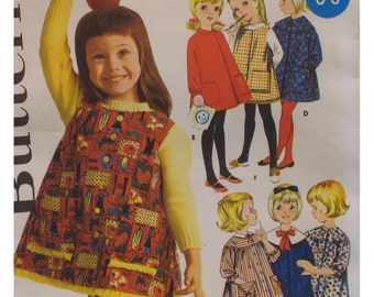 "Childs Smock Dress Pattern, Kindergarten, Vintage 1960s, Jumper, Top, Round Yoke, Pockets,  Butterick No. 2375 Size 4 (Chest 23"" 59cm)"
