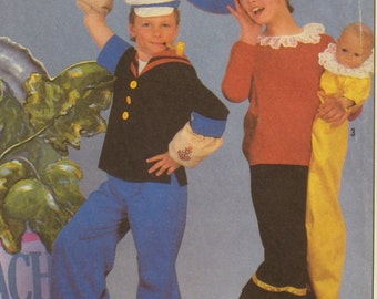 Popeye, Olive Oyl Costume Pattern Baby Sweet Pea, Vintage 1980s Simplicity No. 8831 UNCUT Size Adult Small