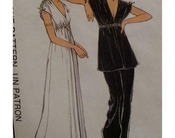 "Grecian Style Dress, Tunic Pattern Harem Pants, Vintage 1970s Style No. 2112 Size 14 (Bust 36"" 92cm)"