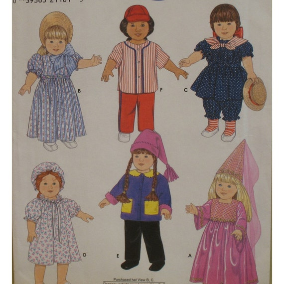 """Doll Clothes Pattern, Baseballer, Princess, Nightie and Cap, Pioneer, Winter Outfit Simplicity No. 7949 UNCUT Size 18"""", 46cm Doll"""