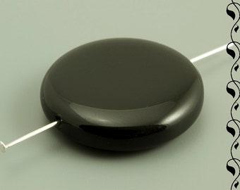 Big Round Flat Beads 28 mm Jet 2 pcs.