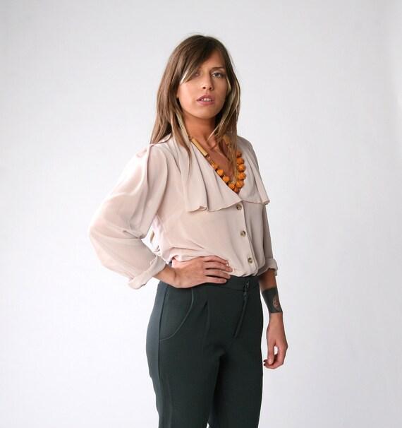 Stone chiffon blouse, Women blouse, Sheer top, Elegant blouse, Size 42, Size 12