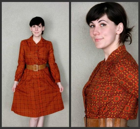 1960's. orange. shirtdress. atomic print. mad men. Sz m/l.