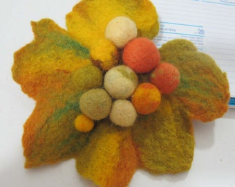 Felted brooch Autumn leaf  Eco-friendly accessories