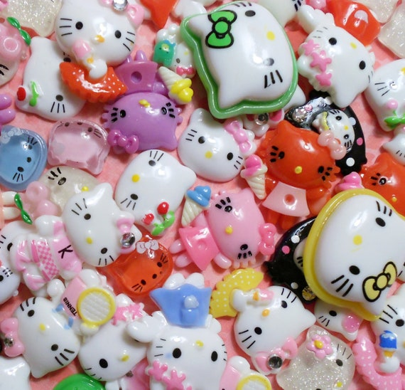 Hello kitty cabochon, flatback,  themed Mix, embellishment, 50 PIECES