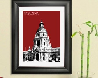 Pasadena Skyline Poster - Pasadena City Hall Print - Pasadena Cityscape Poster Art Print , 8x10 - Choose your color