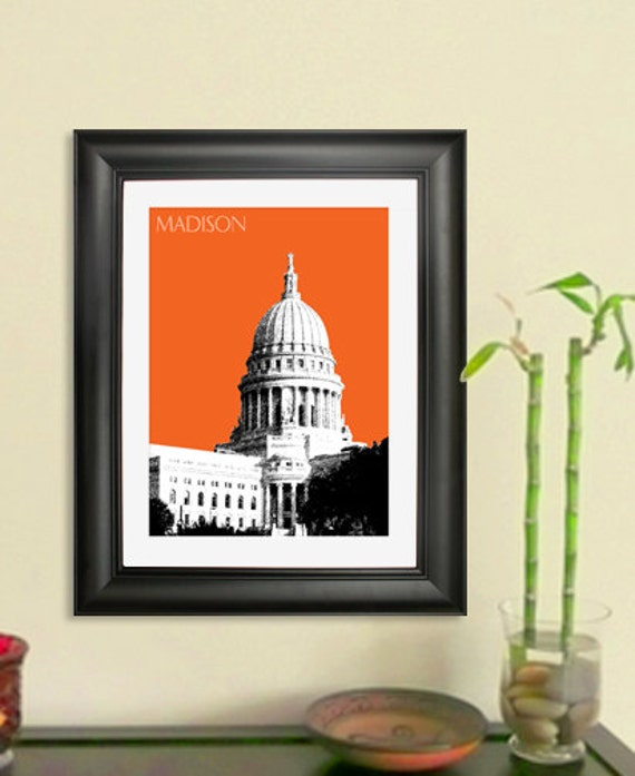 Madison Skyline Print - Madison Wisconsin City Skyline Poster Art Print , 8x10 - Choose your color