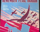 Remember Pearl Harbor, Vintage WWII Sheet Music 1941 Airplanes Ships Red White Blue -- 0820