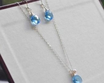 Sterling Silver Ocean Blue Swarovkski Crystals Jewelry Set/ Blue Crystal Necklace/Blue Swarovski Earrings/ Simple Jewelry Set