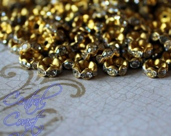 8mm Raw Brass Unplated Czech Crystal Rhinestone Rondelle Spacers - 50 - Wavy Edge - Vintage Shabby Style - Central Coast Charms