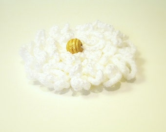 White Crochet Flower Brooch for Dress, Hat, Top, Felt Backing, Nickel Bar Pin