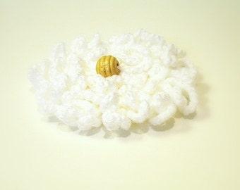 White Crochet Flower Brooch for Dress, Hat, Top, Felt Backing, Nickel Bar Pin