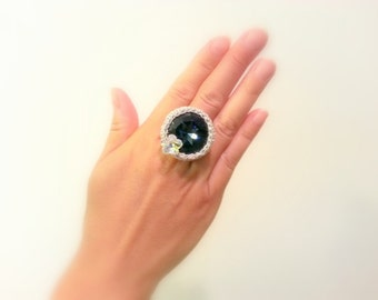Crochet Ring, Handmade, Swarovski Crystal, Adjustable Midnight Blue, Silver Lame Cotton Yarn, Floral Accent