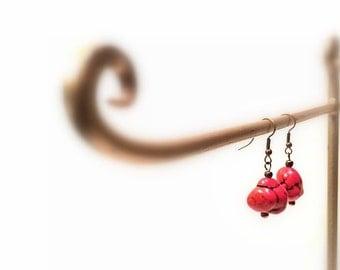 Red Natural Coral Hook Earrings, Copper Hook Dangle Earrings