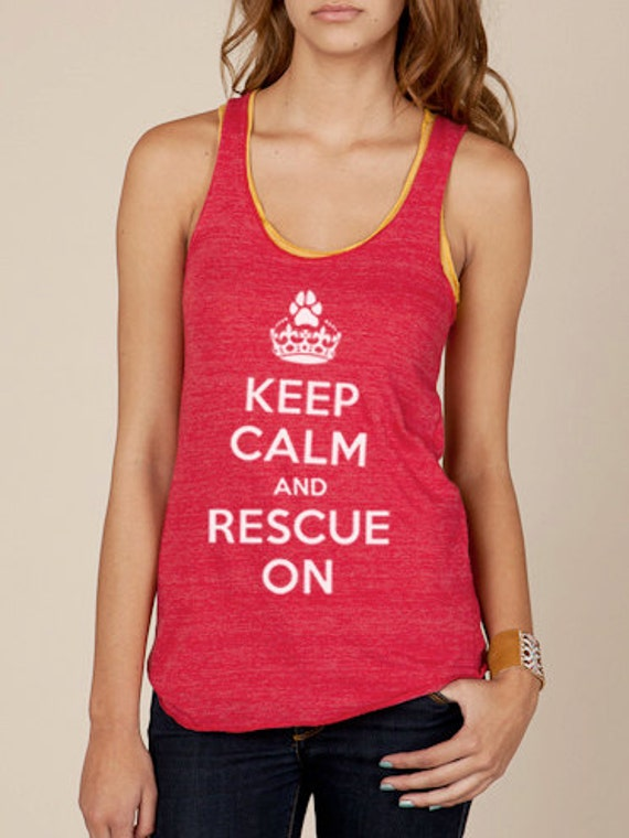Keep Calm and Rescue On Eco Racerback Womens Tank Top