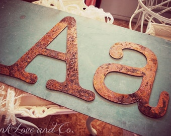 Pair of Rusty Metal Letters Aa  by Junk Love and Co
