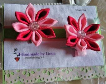 Kanzashi Flower Hair clip Set of Two