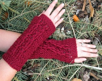 extra soft  wine colored fingerless gloves with cable decoration