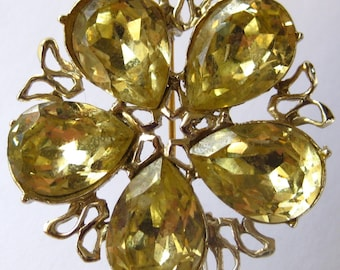 Reduced  Vintage Large Yellow  and Green Rhinestone Flower Brooch