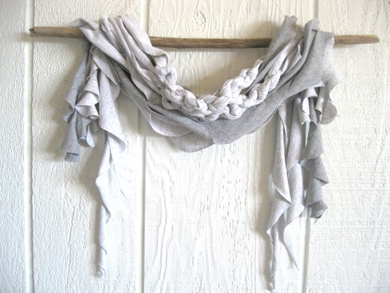 Eco Friendly. Upcycled T-Shirt. Misty Beach Morning. Gray. Summer Scarf Set. FREE Shipping