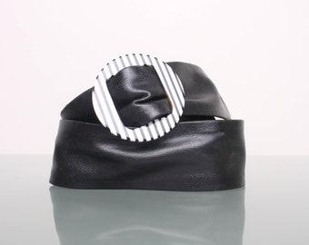 Vintage Belt 80s Leather Hipster Mod Black Belt with Black and White Striped Buckle