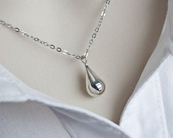Teardrop Necklace, Sterling Silver Teardrop Necklace, Modern Minimalist Necklace
