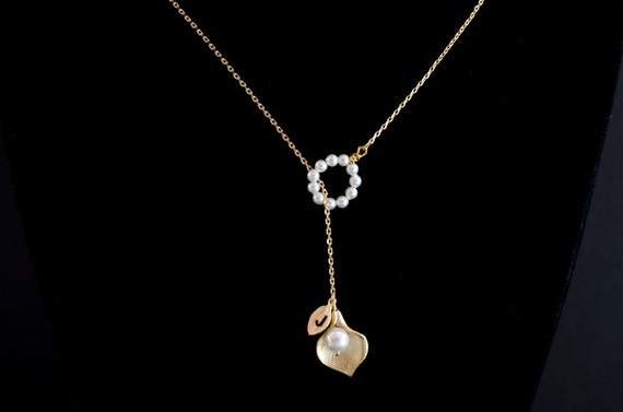 Gold Plated Initial Necklaces, Lariat Necklace, Gold Plated Cala Lily and Swarovski Pearls Lariat Necklace