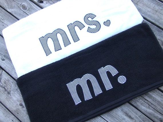 Honeymoon Bath Towels-mr. and mrs.