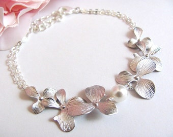 Silver Princess Style Orchid and Pearl Bracelet- elegant bridal jewelry, bridesmaids gifts, available in gold.