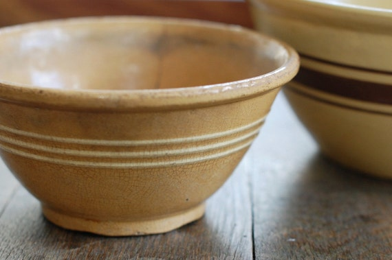 """Antique Yellow Ware Bowl with White Stripes - Rustic Condition - 7"""" Size"""