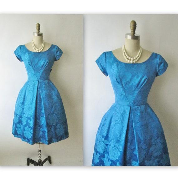 50's Cocktail Dress // Vintage 1950's Blue Floral Brocade Cocktail Party Mad Men Dress XS