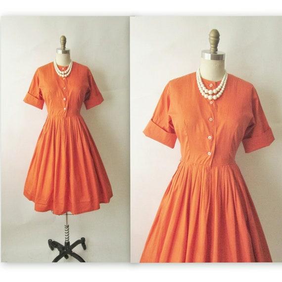 50's Orange Shirtwaist // Vintage 1950's Vibrant Orange Shirtwaist Mad Men Dress S