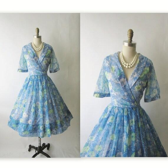 50's Floral Dress // Vintage 1950's Floral Print Chiffon Garden Party Mad Men Cocktail Dress S M