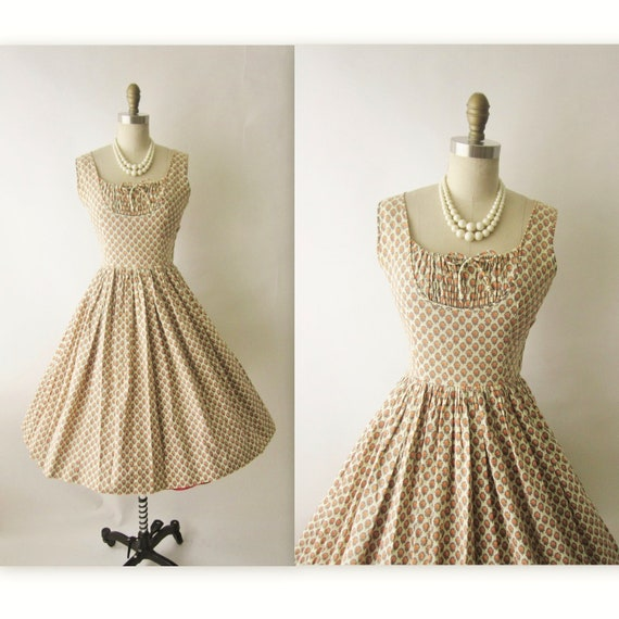 50's Summer Dress // Vintage 1950's Floral Print Garden Party Summer Sun Dress S