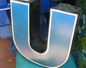 Large Cobalt Blue, Black & White Letter 'U': Reclaimed Industrial Salvage Advertising Neon Channel Sign Initial - Metal and Plastic