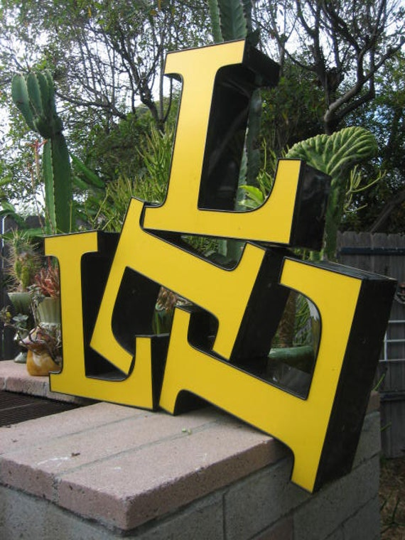 Reclaimed Industrial Salvage Advertising Sign Letter: Large Yellow & Black Capital Initial 'L' w/ Translucent Faceplate, Excellent Condition