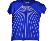 Women's Blue T-shirt with white rays.