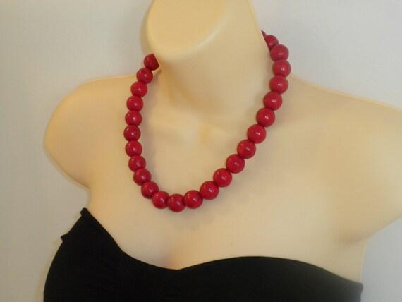 LIPSTICK RED-statement, round, large natural gemstones, big bold, howlite, chunky, handmade, NECKLACE